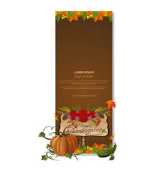 Vertical banner for thanksgiving day vector