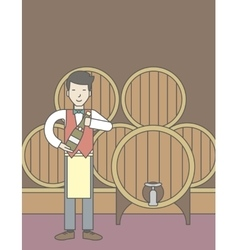 Waiter in wine cellar vector
