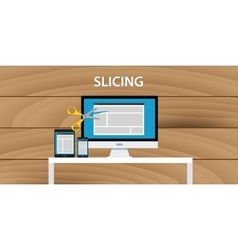 web website slicing process development vector image
