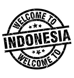 welcome to indonesia black stamp vector image vector image