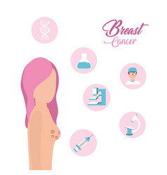 Woman breast cancer support and treatment vector