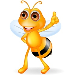 Bee cartoon thumb up vector image vector image