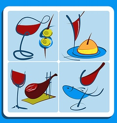 Colorful doodle sketches of Spanish wine vector image vector image