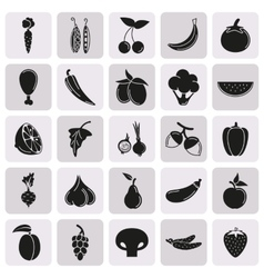 Food Icon set Vegetables and meat on button vector image vector image