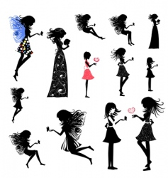girl fairy set vector image vector image