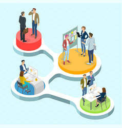 isometric people communicating infographics vector image vector image