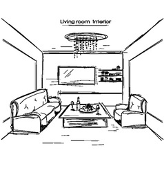 living room interior black hand drawing vector image