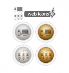 round web iconscomputer and network vector image vector image
