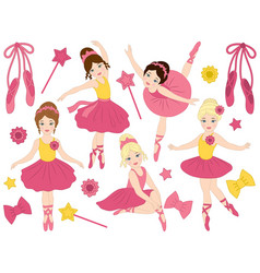 set of beautiful ballerinas dancing vector image