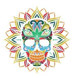 Skull and Sun Flower vector image