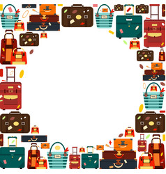 travel bags with circle for text isolated on vector image