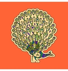 Colorful peacock sticker vector image