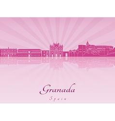 Granada skyline in purple radiant orchid vector image vector image
