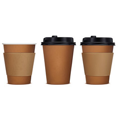 paper cup of coffee set 3d vector image vector image