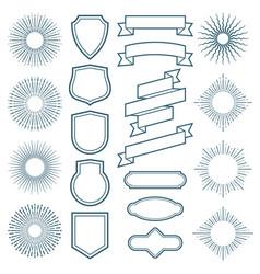 vintage sunburst frames ribbon banners and labels vector image vector image