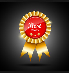 Best choice red and gold ribbon award vector image