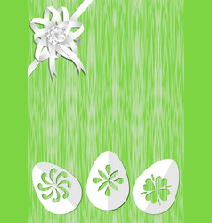 green easter background with white ribbon rosette vector image vector image