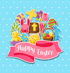 happy easter greeting card with decorative objects vector image