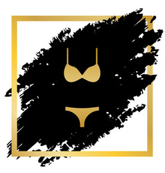 women swimsuit sign golden icon at black vector image