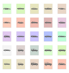 car set black icon on color sticker vector image vector image