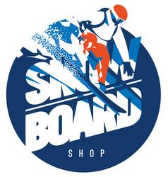 Freeride snowboarder in motion sport logo or vector