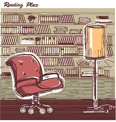 Interior reading room color hand draw sketchy vector image