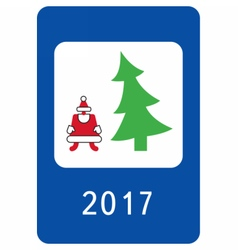 New year greeting card stylised as a road sign vector image vector image