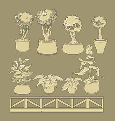 set of doodle house plants in ceramic pots vector image vector image