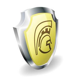 spartan helmet shield security concept vector image