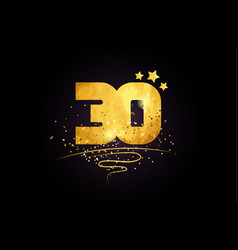 30 number icon design with golden star and glitter vector image
