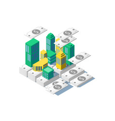 3d isometric city on bills cash dollars vector image