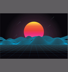 80s futuristic retro landscape vector image