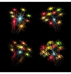 A set of colorful fireworks in honor of US vector