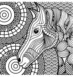 Adult coloring monochrome horse drawing vector