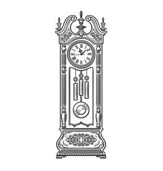 Antique grandfather pendulum clock traditional vector