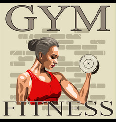 athletic woman with dumbbells vector image