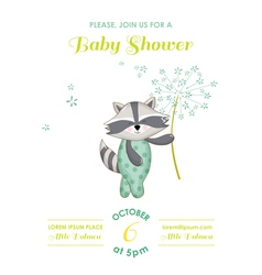 Baby shower or arrival card - racoon vector