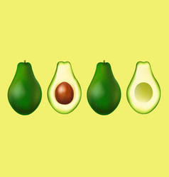 Banner with realistic avocado set vector