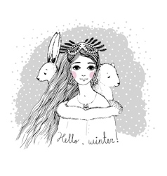 Beautiful young girl and cute bear hare vector