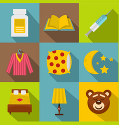 Bed time rest icon set flat style vector