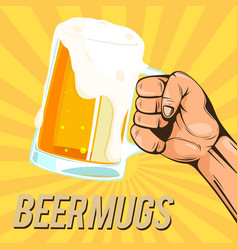 beer mugs hand hold a glass of beer image vector image