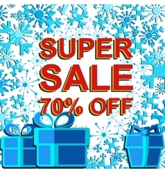 Big winter sale poster with SUPER SALE 70 PERCENT vector
