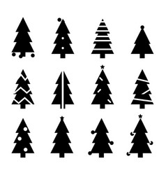 black silhouette christmas trees stylized simple vector image