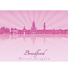 Bradford skyline in purple radiant orchid vector image