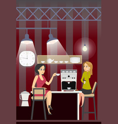 Business woman drink coffee rest in office kitchen vector
