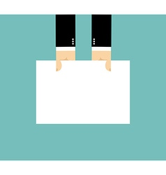 Businessman hand and white sheet Billboard Hand vector image