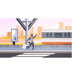 Businessman running to catch train african vector