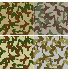 camouflage seamless colorful background set vector image