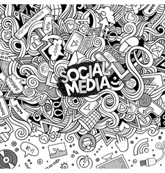 Cartoon doodles internet frame vector image
