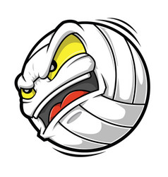 Cartoon volleyball angry face vector